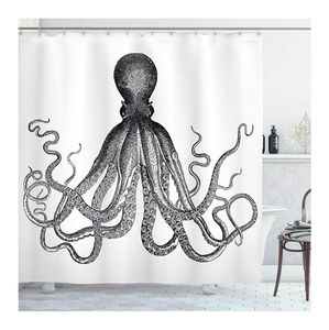 Ambesonne Octopus Nautical Shower Curtain,